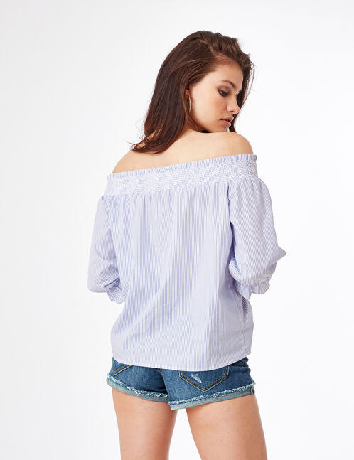 Light blue and cream off-the-should blouse