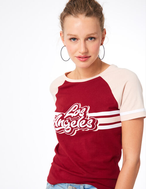 tee-shirt los angeles rouge et rose clair
