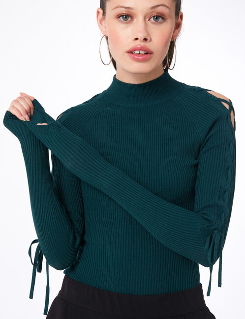 Green ribbed jumper with lacing detail