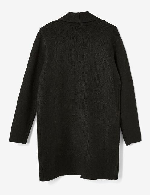 veste longue en laine noire