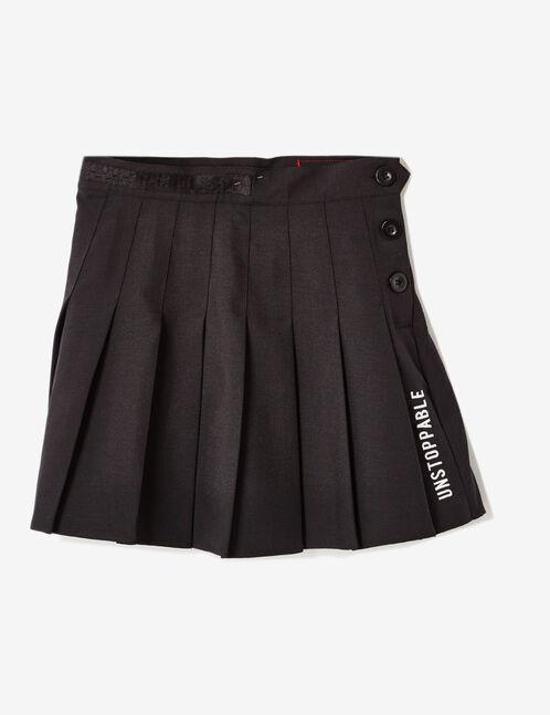 jupe plissée à message noire