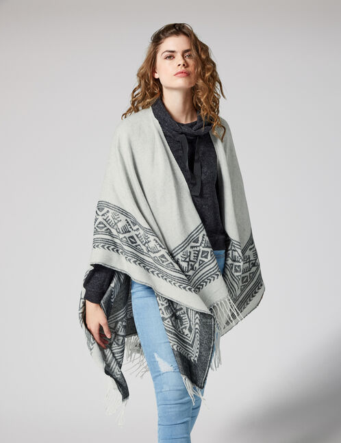 Grey and black ethnic-patterned cape