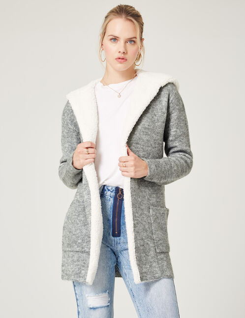 gilet long à capuche gris chiné