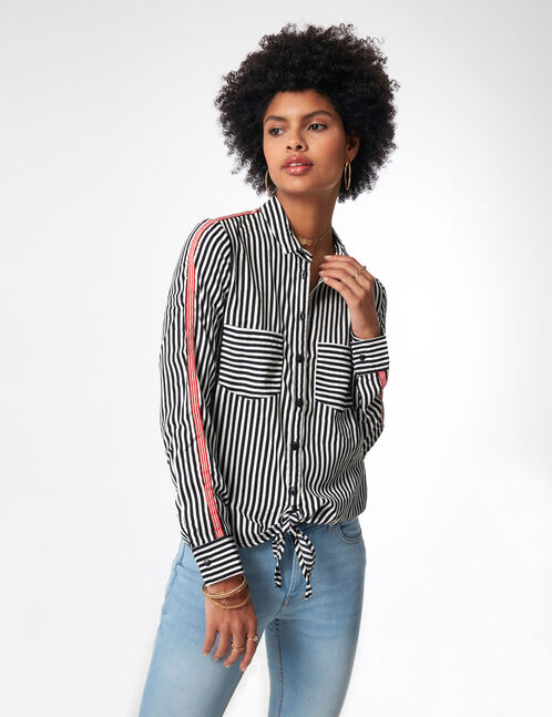 Striped shirt with banded sleeve detail