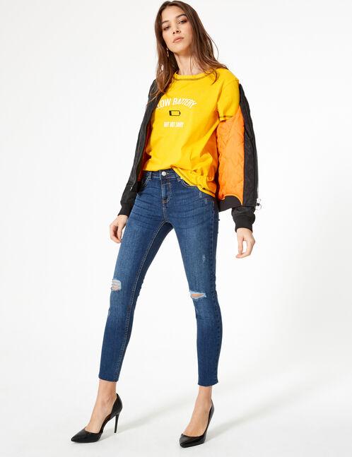 jean skinny taille basse medium blue