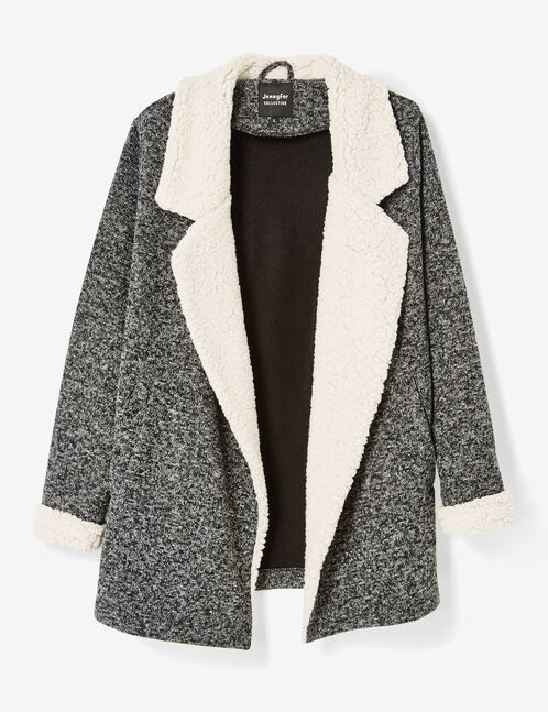 Charcoal grey marl jacket with contrasting details
