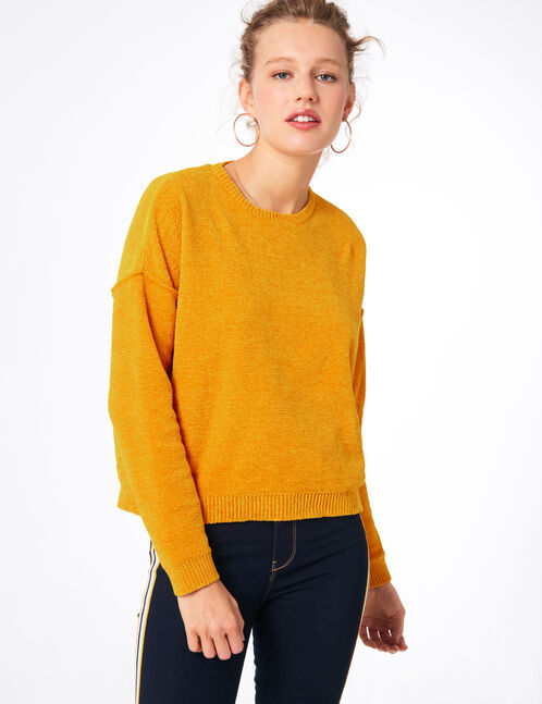 pull chenille ocre