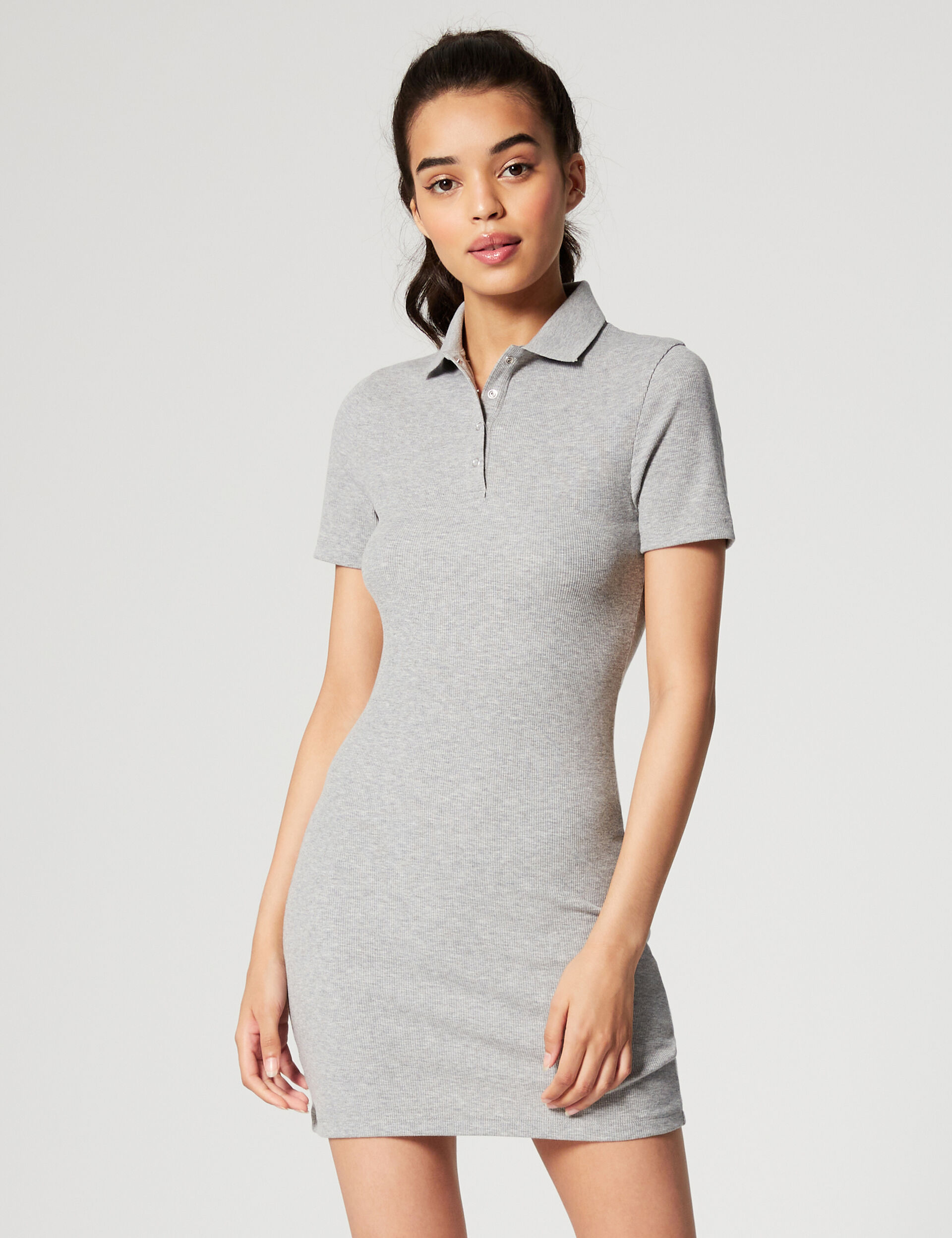 Ribbed dress with polo collar