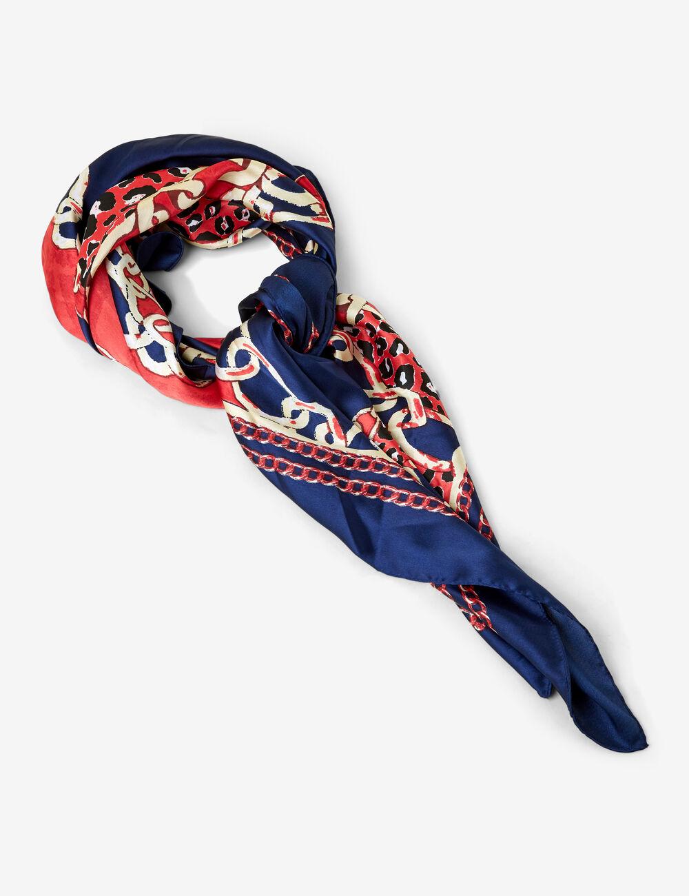d1e1c2b4fed Foulard imprimé bleu marine et rouge femme • Jennyfer