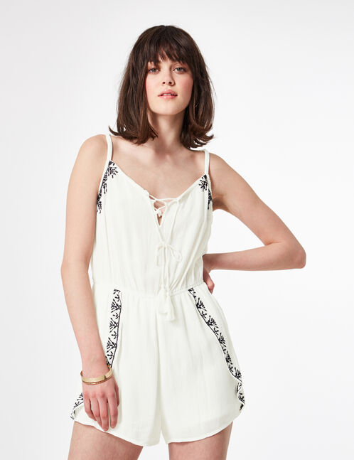 Cream playsuit with embroidery