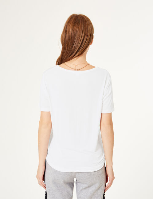White T-shirt with strappy detail