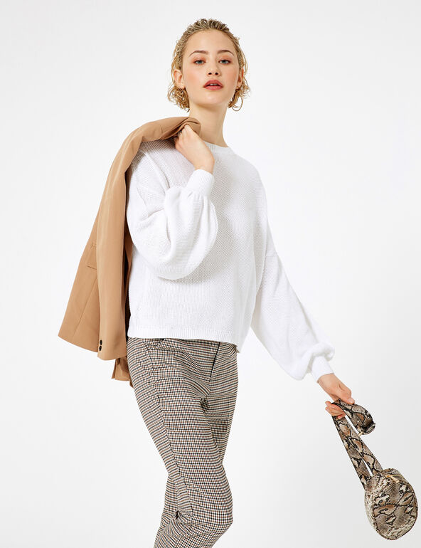 White textured loose-fit jumper