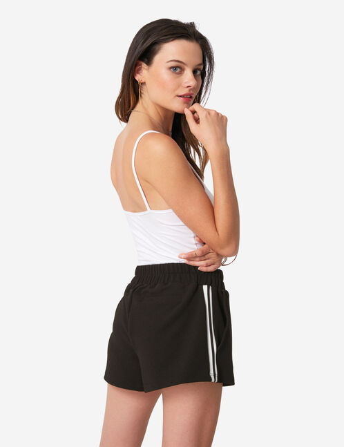 Black shorts with side stripe detail