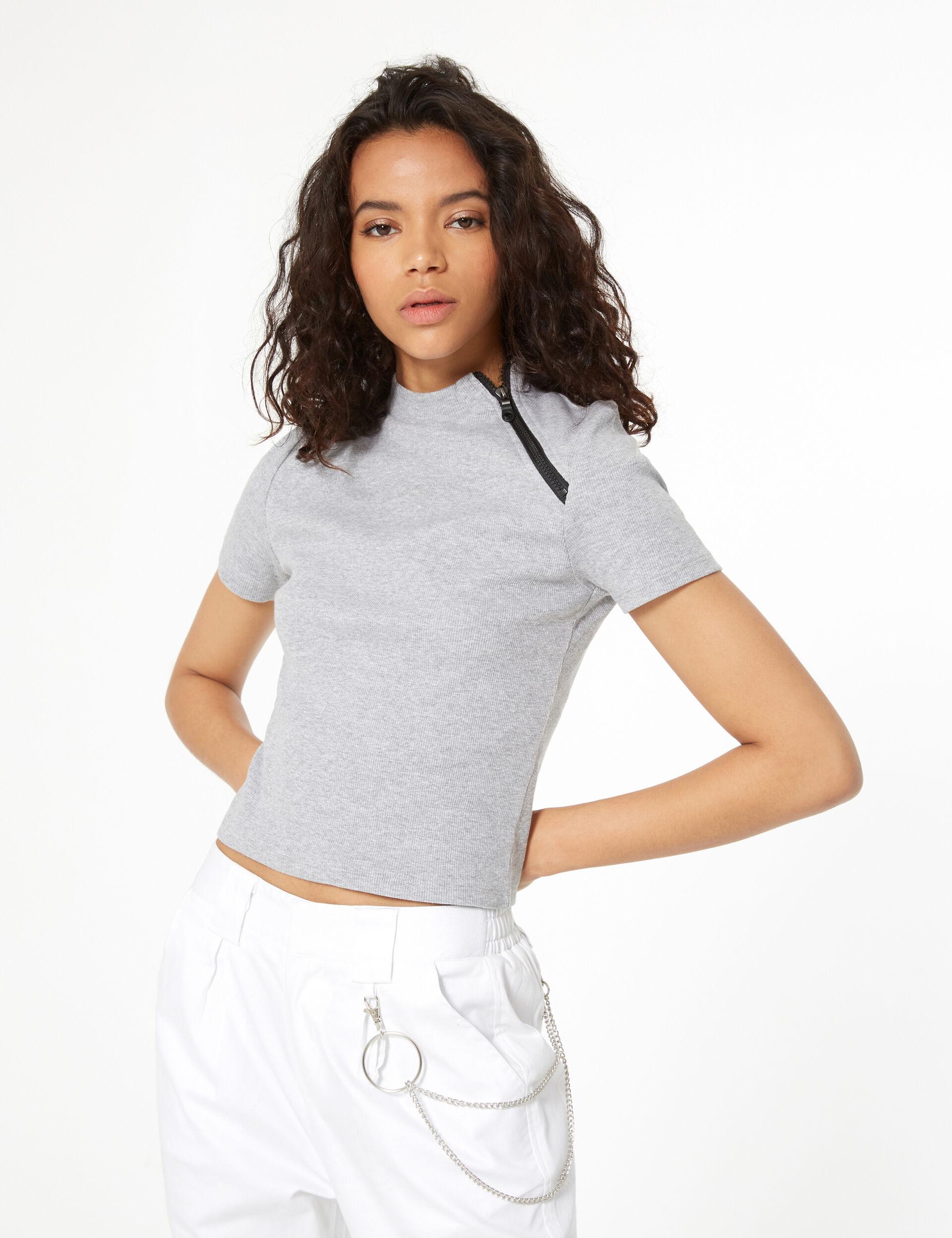 Ribbed zip t-shirt