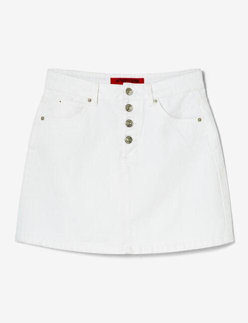 jupe en jean boutonnée blanche