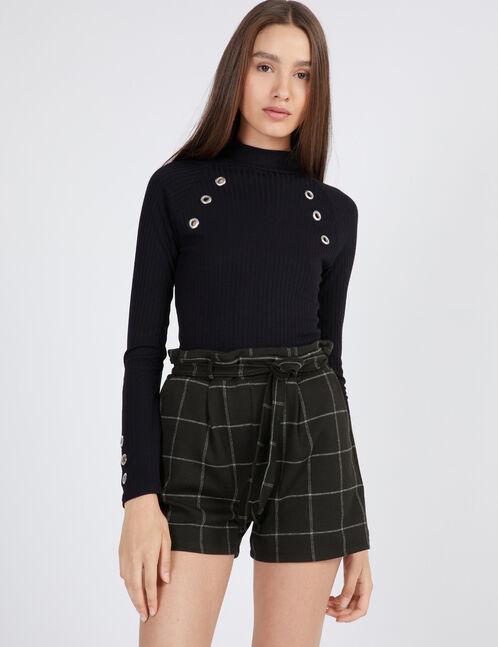 short à carreaux noir et blanc