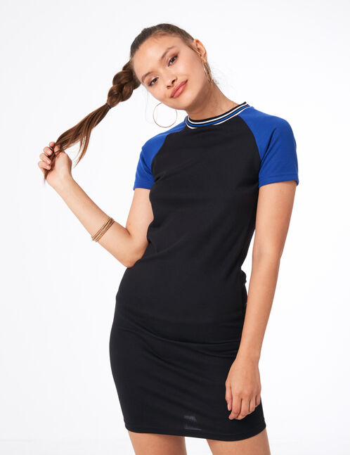 Black and blue two-tone T-shirt dress