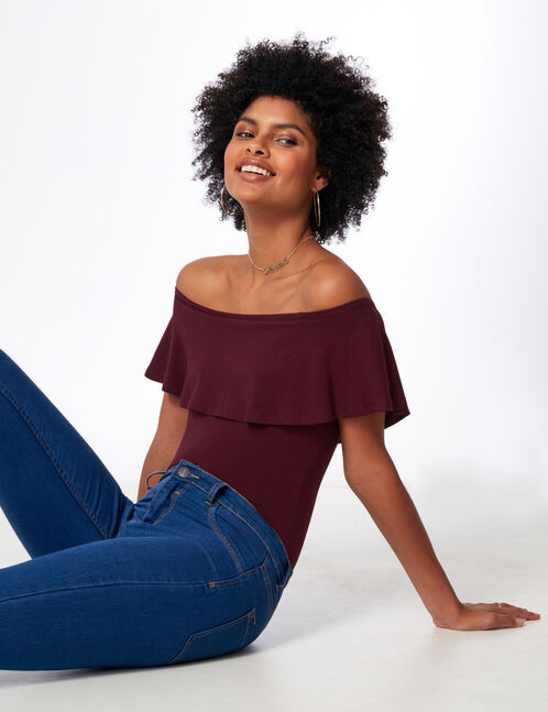 Plum bodysuit with frill detail