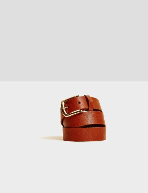 Camel distressed-effect belt