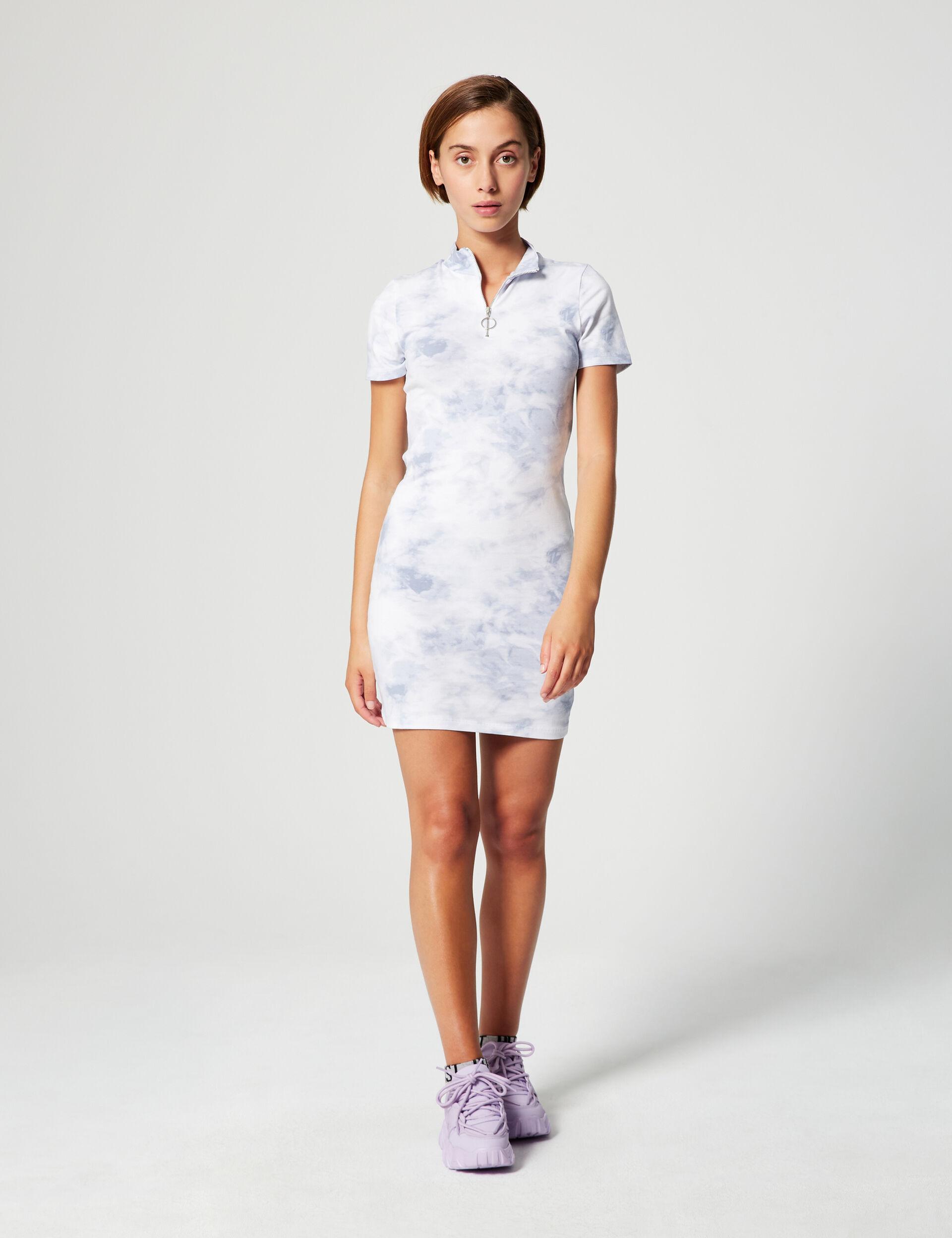 Zip-up tie-dye dress