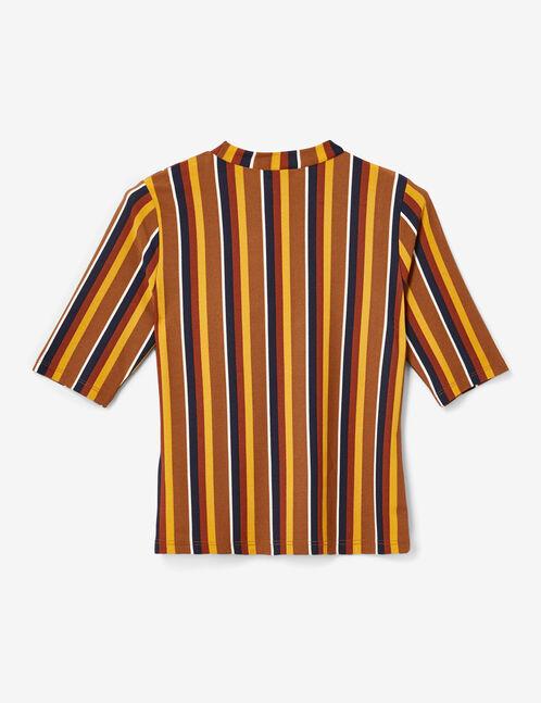 Camel, ochre, navy blue and rust striped T-shirt
