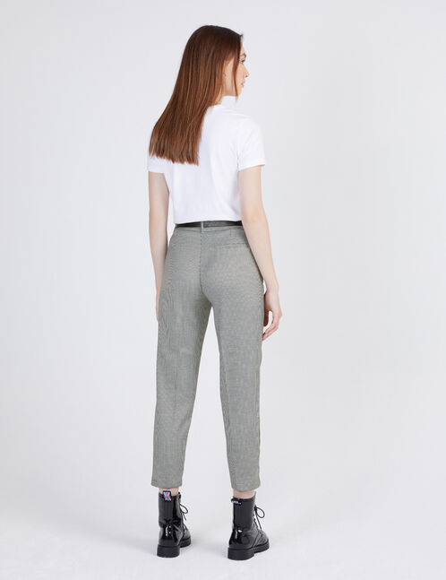 Black and white puppytooth trousers
