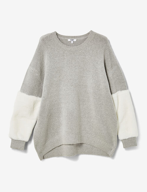 Grey marl jumper with faux fur detail