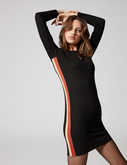 Black, beige and rust-coloured dress with side stripe detail
