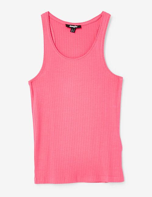 Basic pink ribbed tank top