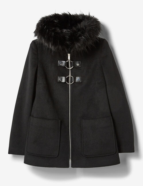 Black coat with buckle detail