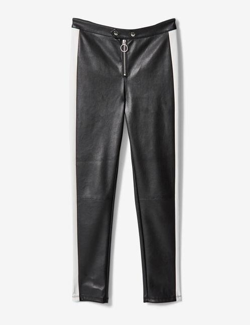 pantalon simili noir et blanc