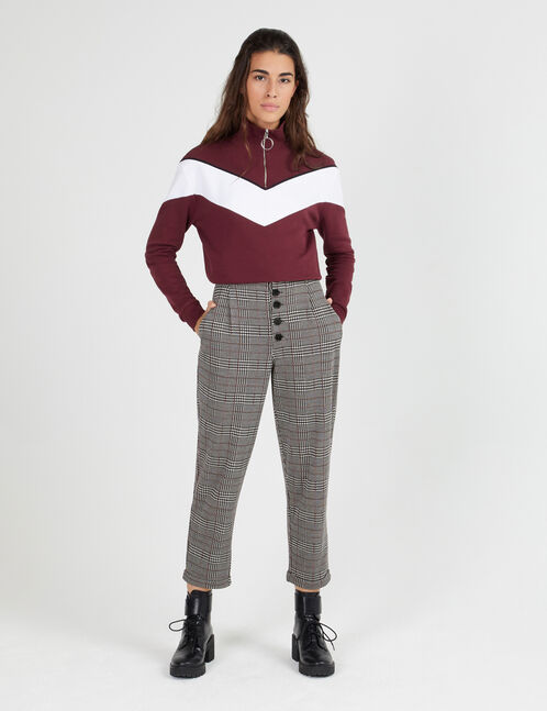 Black, white and burgundy glen check trousers