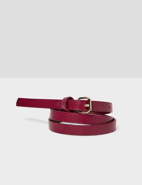 Burgundy skinny belt