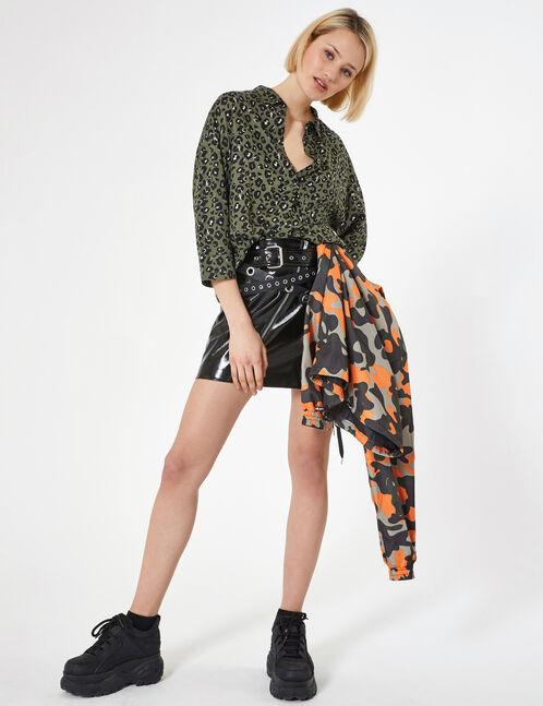 chemise léopard kaki et noire