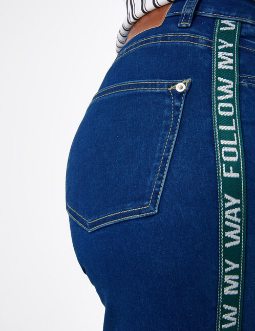 Medium blue and green jeans with side stripe detail