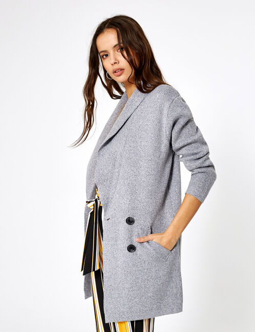 Long grey marl buttoned jacket