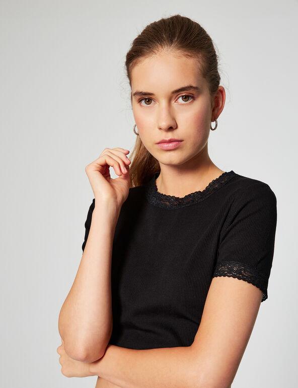 Ribbed lace T-shirt