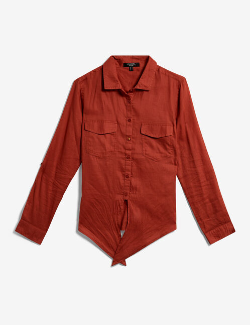 Rust-coloured tie-fastening shirt