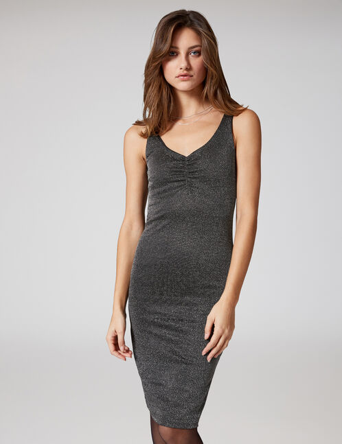 Black and silver fitted dress with lurex detail