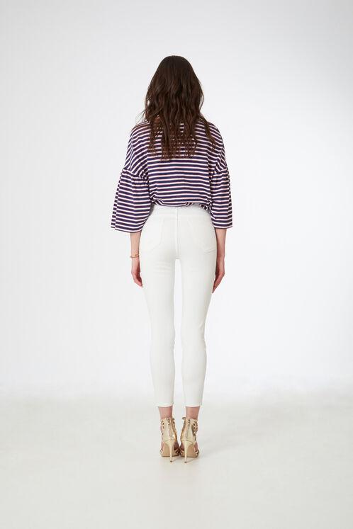 pantalon taille haute écru