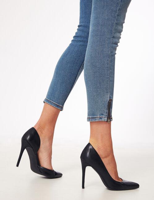 jean skinny avec zips bleu clair