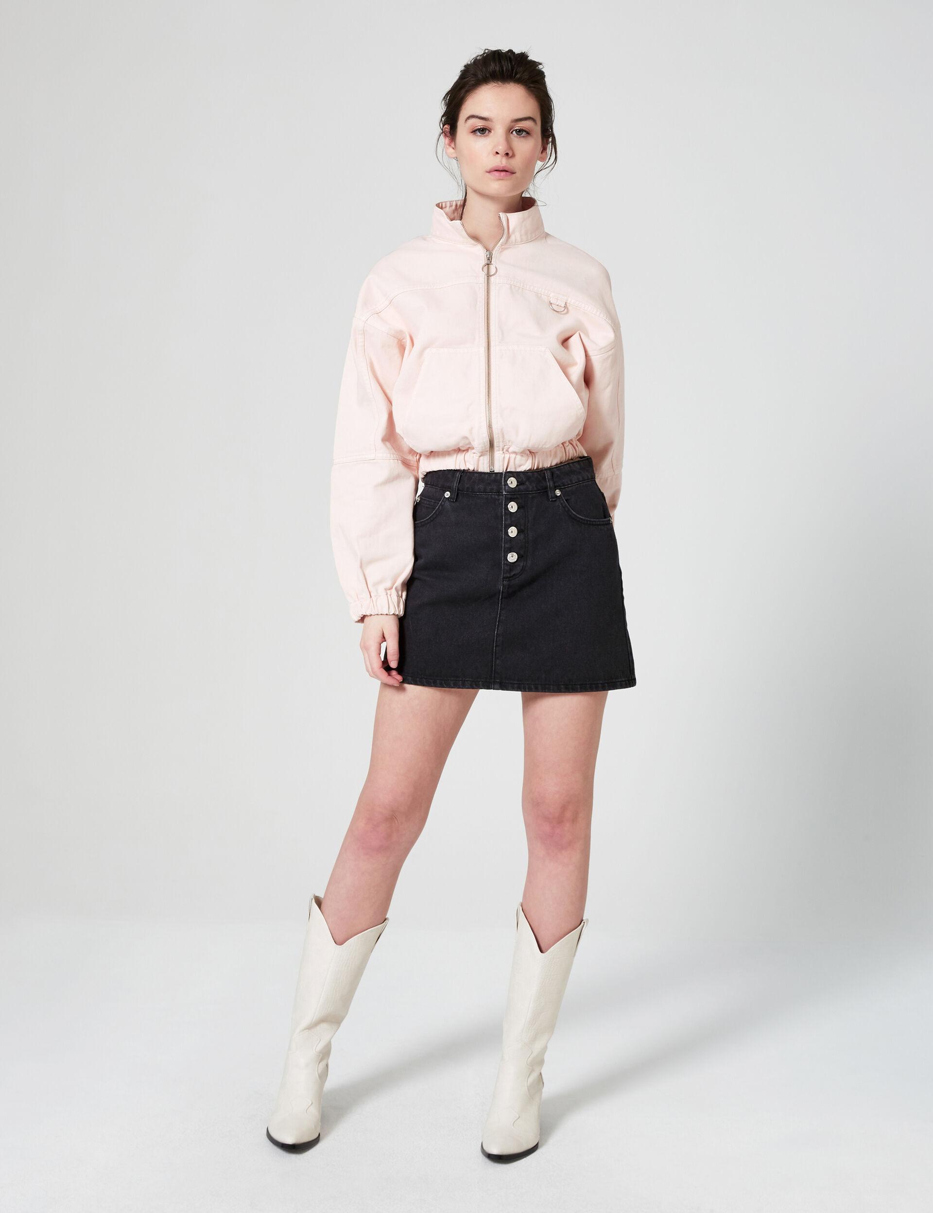 Stand-up collar denim jacket