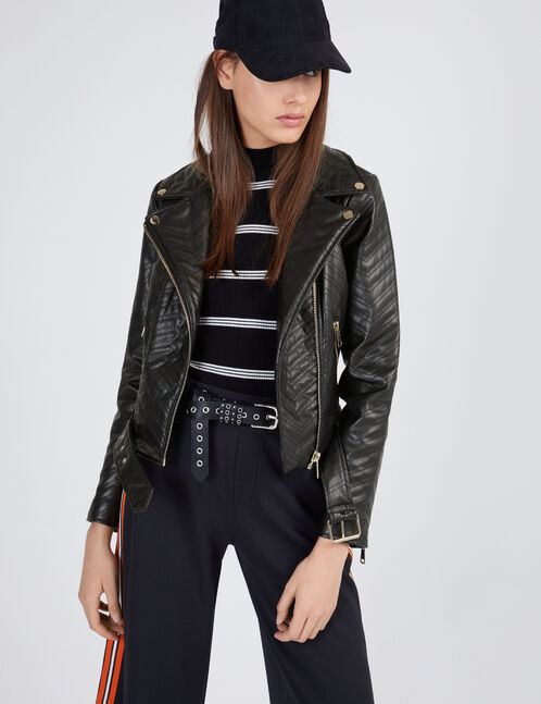 veste biker chevrons noire
