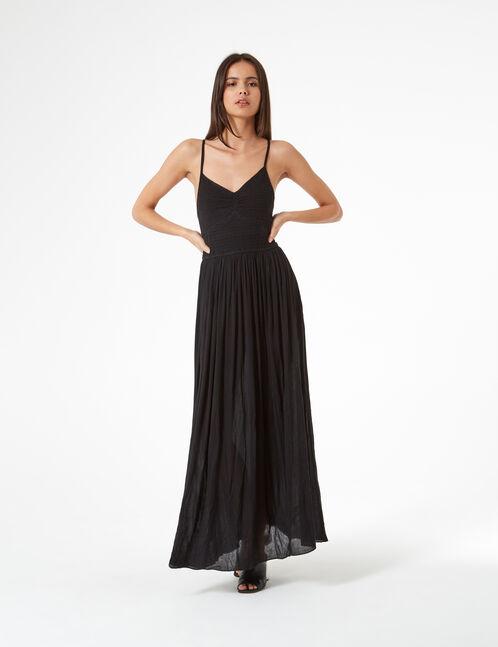 robe longue smokée noire