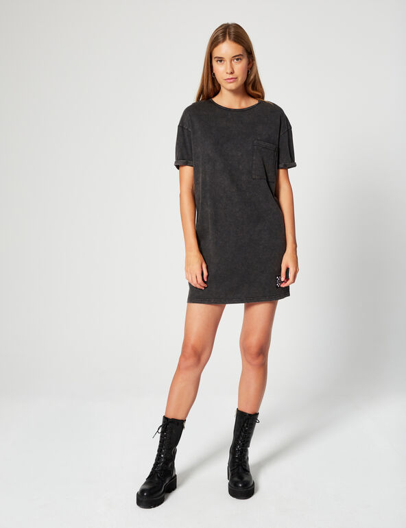 T-shirt dress with worn effect