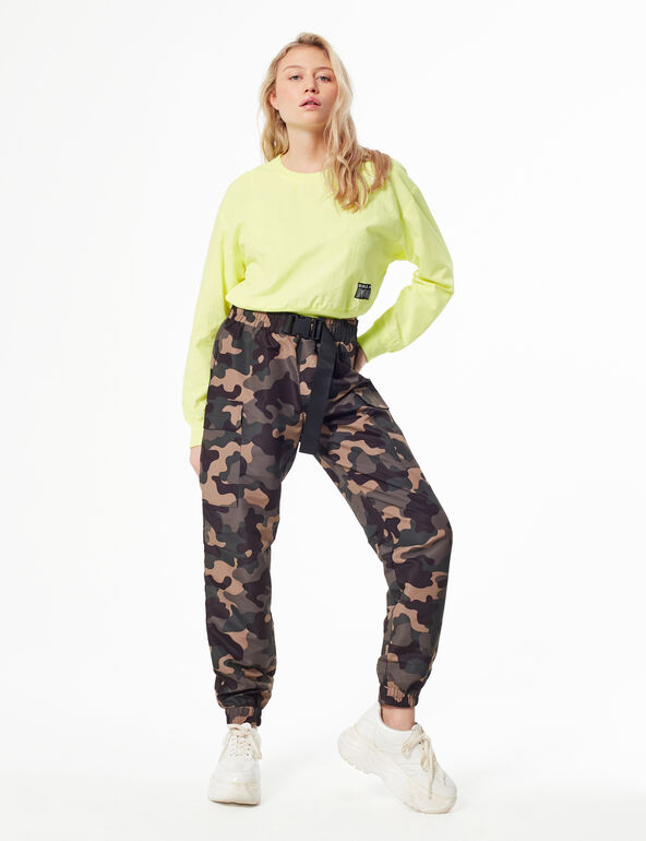 Camouflage cargo-style joggers