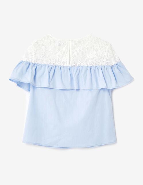 blouse bi-matière bleu clair et écrue