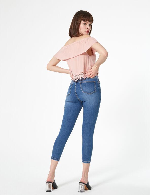 Jean taille haute boutonné medium blue