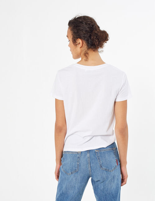 tee-shirt à message blanc et rose clair