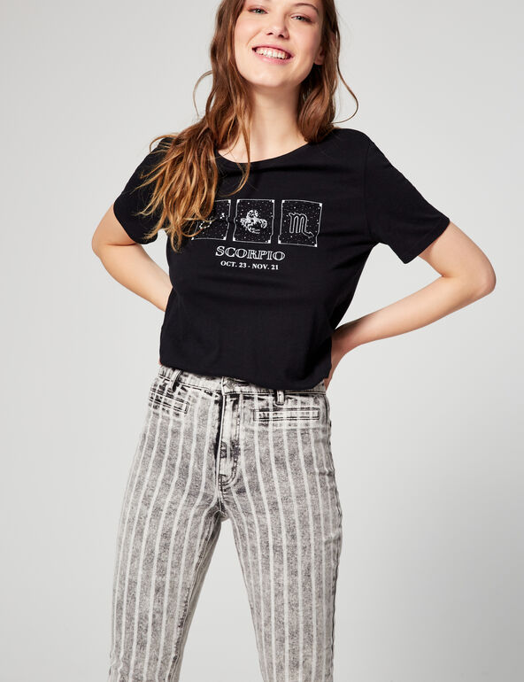 High-waisted striped skinny fit jeans